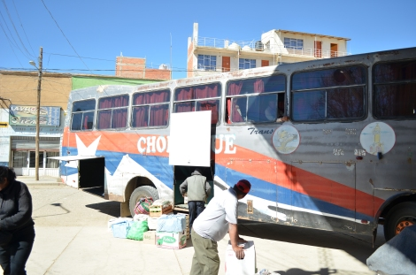 """El """"Chorolque"""", bus que nos llevó a 200 km/h a Tupiza."""